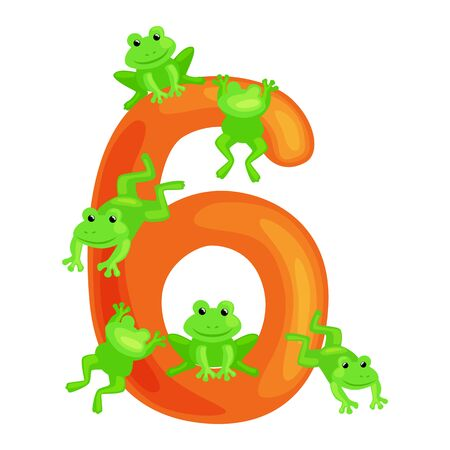 ordinal numbers six for teaching children counting 6 frogs with the ability to calculate amount animals abc alphabet kindergarten books or elementary school posters collection vector illustration Stock Photo