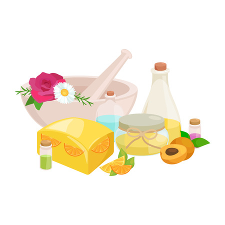 set of natural organic hand made soap with olives vector illustration, body beauty care concept, nature cosmetics aroma bar for herbal handmade spa products collection Illustration