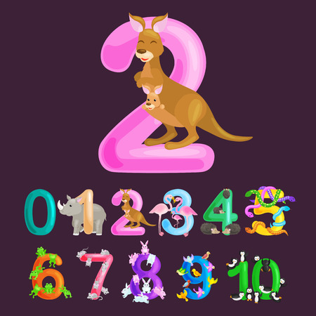 ordinal number 2 for teaching children counting two kangaroo Mom and baby in bag with the ability to calculate amount animals abc alphabet kindergarten books or elementary school posters collection vector illustration