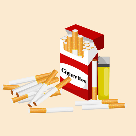 smoking tobacco cigarette with filter in red box and lighter vector illustration Illustration