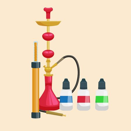 bottled: Colorful and modern red hookah isolated with bottled liquid vector illustration
