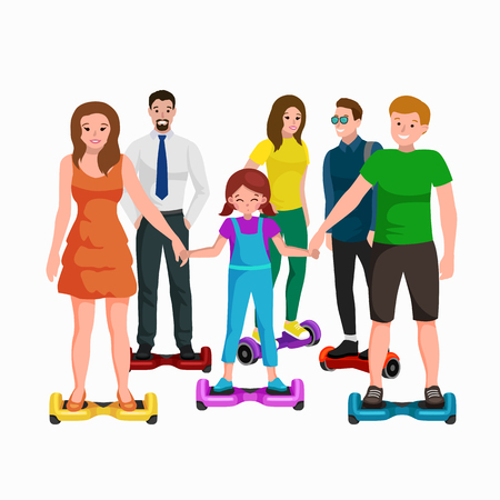 Active people fun with electric scooter, segway new modern technology hover board. Illustration