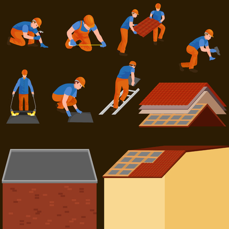 roof construction worker repair home, build structure fixing rooftop tile house with labor equipment, roofer men with work tools in hands outdoors renovation residential vector illustration. Stock Photo