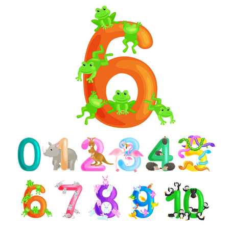 Ordinal numbers six for teaching children counting 6 frogs with the ability to calculate amount animals abc alphabet kindergarten books or elementary school posters collection vector illustration Illustration