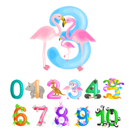 Ordinal numéro 3 pour l'enseignement des enfants comptant trois flamants roses avec la possibilité de calculer la quantité d'animaux abc alphabet livres de maternelle ou de l'école élémentaire affiches collection illustration vectorielle Vecteurs