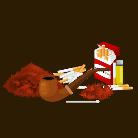 cigarette pack: Smoking wooden pipe with tobacco for rolled cigarette and pack smoking equipment vector illustration