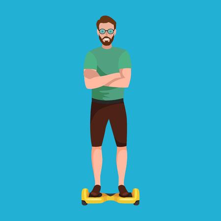 Persone attive divertimento con scooter elettrico, segway nuova tecnologia moderna hover-board, uomo auto equilibrio ruota trasporto gyroscooter cavalcare la strada vector illustrator