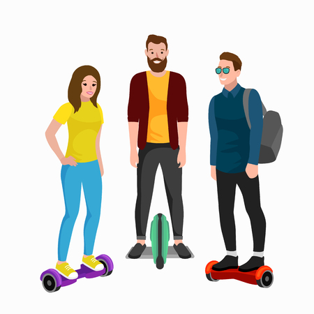 Active peoples fun with electric scooter, family on segway new modern technology hover-board, man woman and child self balance wheel transport gyroscooter ride the street vector illustrator