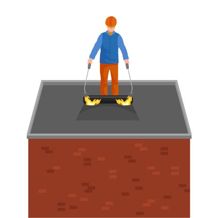bitumen felt: Roof construction worker repair home, build structure fixing rooftop tile house with labor equipment, roofer men with work tools in hands outdoors renovation residential vector illustration