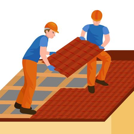Constructeur de toit ouvrier réparation maison, structure de construction fixation toit maison de carrelage avec équipement de travail, roofer hommes avec outils de travail dans les mains en plein air rénovation illustration vectorielle résidentielle