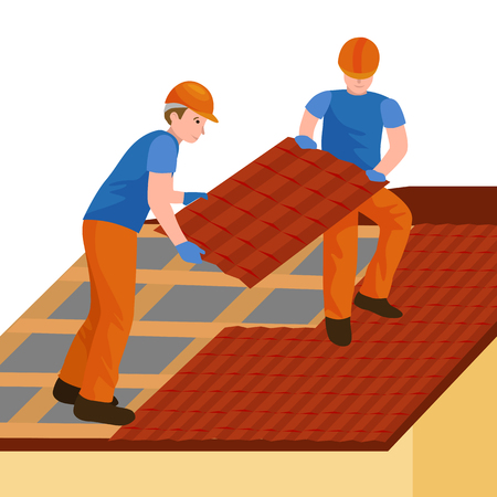 roofer: Roof construction worker repair home, build structure fixing rooftop tile house with labor equipment, roofer men with work tools in hands outdoors renovation residential vector illustration