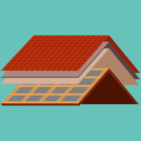 Dach Bauarbeiter Reparatur Hause, bauen Struktur Befestigung Dach Dachziegel Haus mit Arbeitsausrüstung, Dachdecker Männer mit Arbeitswerkzeuge in Händen im Freien Renovierung Wohn-Vektor-Illustration Standard-Bild - 73253695