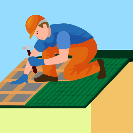 shingles: Roof construction worker repair home, build structure fixing rooftop tile house with labor equipment, roofer men with work tools in hands outdoors renovation residential vector illustration