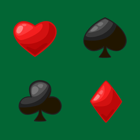 clubs diamonds: Isolated four card suits for poker game in casino, symbol of red Hearts, Diamonds and black Clubs, Spades gambling vector illustration Illustration
