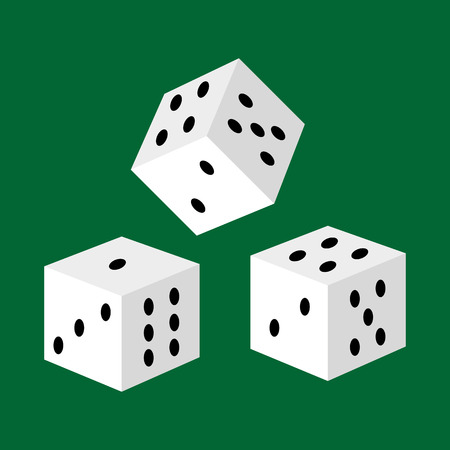 Gambling white dice for casino, risk and success playing leisure game isolated vector illustration, lucky number three to take jackpot