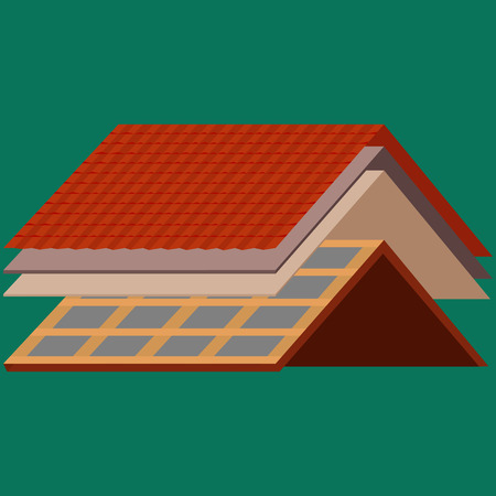 Roof construction worker repair home, build structure fixing rooftop tile house with labor equipment, Men with work tools in hands outdoors renovation residential vector illustration