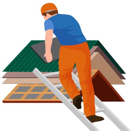 toit maison travailleur de la construction de réparation, de construire la structure de fixation sur le toit de tuiles maison avec des équipements de travail, couvreur hommes avec des outils de travail dans les mains à l'extérieur rénovation résidentielle illustration vectorielle Vecteurs