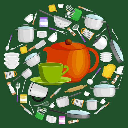 Cartoon kitchen utensil set, collection of orange teepot and green cup with saucer vector illustration