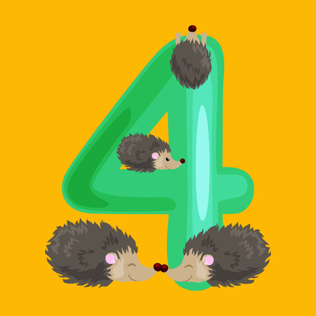 ordinal number 4 for teaching children counting four hedgehogs with the ability to calculate amount animals abc alphabet kindergarten books or elementary school posters collection vector illustration