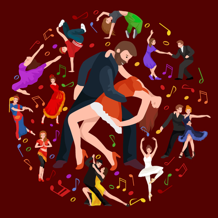 Group of dancing people, yong happy man and woman dance together  in a couple, girl sport dancer Illustration
