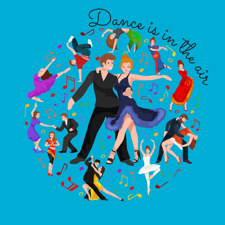 Happy Salsa dancers couple isolated on white icon pictogram, man and woman in dress dancing  with passion