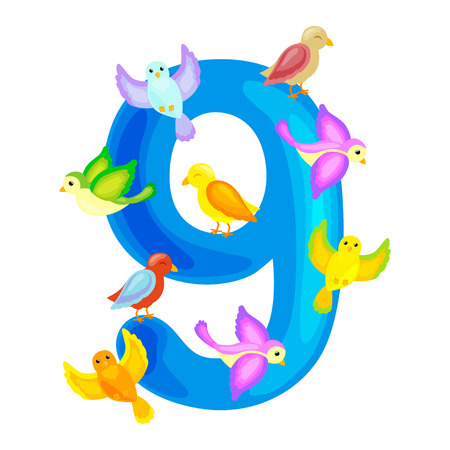 ordinal numbers 9 for teaching children counting nine birdies with the ability to calculate amount animals abc alphabet kindergarten books or elementary school posters collection vector illustration