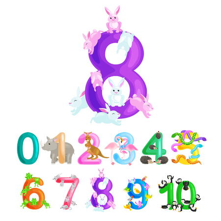 ordinal numbers for teaching children counting with the ability to calculate amount animals abc alphabet kindergarten books or elementary school posters collection vector illustration