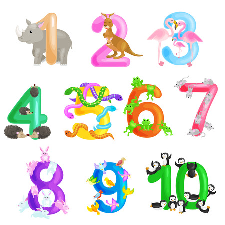 Set of ordinal numbers for teaching children counting with the ability to calculate amount animals abc alphabet kindergarten books or elementary school posters collection vector illustration