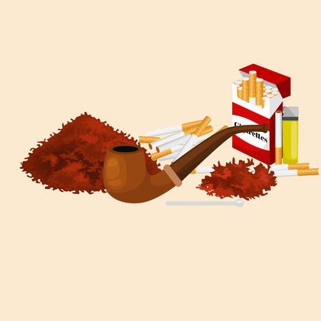 cigarette pack: Smoking wooden pipe and tobacco and smoking equipment vector illustration. Stock Photo