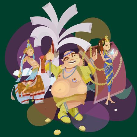 om: Set of isolated hindu gods meditation in yoga poses lotus and Goddess hinduism religion, traditional asian culture spiritual mythology, deity worship festival vector illustrations, T-shirt concepts
