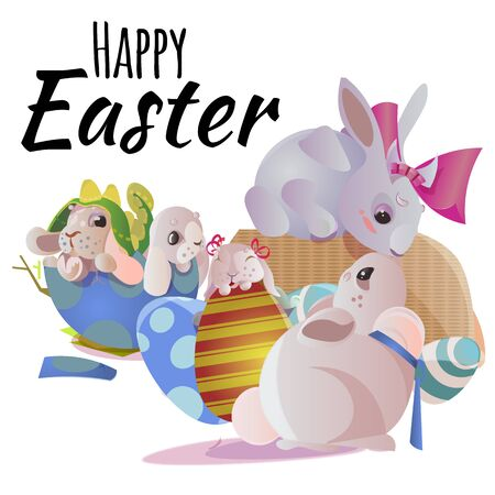 Happy and Cute Easter bunny sitting in basket with decorated Easter Eggs on green grass, Vector illustration. Set Isolated on white background, greeting card with spring rabbit chocolate egg hunting Stock Photo