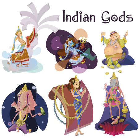 Set of isolated Indian Gods meditation in yoga poses lotus and Goddess hinduism religion, traditional asian culture spiritual mythology, deity worship festival vector illustrations, T-shirt concepts Illustration