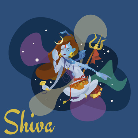 Lord Shiva, indian god in the lotus position and meditate space . Maha Shivaratri hinduism religion, culture spiritual mythology, deity worship festival vector illustrations