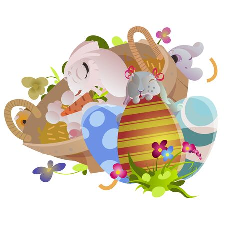 Basket decorated easter eggs on green grass for holiday celebration, spring season colorful lovely bunnies happy Easter greeting card