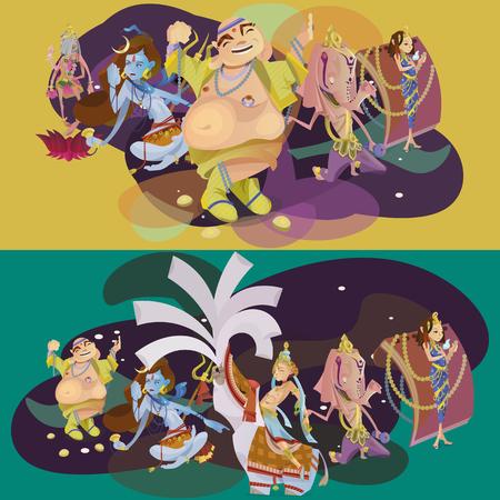 Set of isolated Indian Gods meditation in yoga poses lotus and Goddess hinduism religion, traditional asian culture spiritual mythology, deity worship festival vector illustrations, T-shirt concepts Illustration