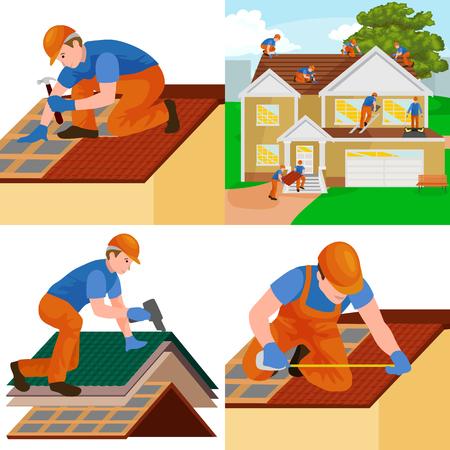 budowa dachu pracownik naprawy domu, budowanie struktury mocowanie dom na dachu dachówka z urządzeń roboczych, mężczyźni dachowych z narzędziami pracy w rękach na zewnątrz renowacji mieszkalnych ilustracji wektorowych