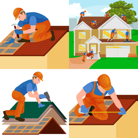 roof construction worker repair home, build structure fixing rooftop tile house with labor equipment, roofer men with work tools in hands outdoors renovation residential vector illustration