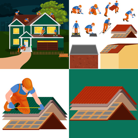roof construction worker repair home, build structure fixing rooftop tile house with labor equipment