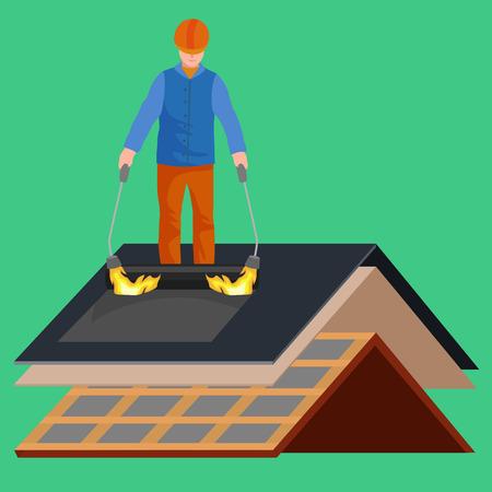 toit ouvrier réparation maison, construire la structure de fixation toit toit de tuiles avec l'équipement de travail