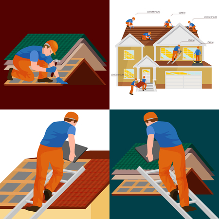 roof shingles: roof construction worker repair home, build structure fixing rooftop tile house with labor equipment