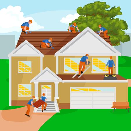 Dakconstructie werker reparatie huis, bouw structuur bevestiging dak tegel huis met arbeidsmiddelen
