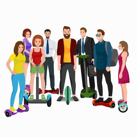 전기 스쿠터, 가족 segway에 활성 사람들 재미 새로운 현대 기술 호버 보드, 남자 여자와 자식 자기 균형 휠 전송 gyroscooter 타고 거리 벡터 일러스트 레이