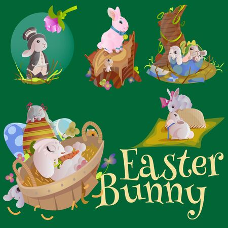 Basket decorated easter eggs on green grass for holiday celebration, spring season colorful lovely bunnies happy Easter greeting card, Catholic religion isolated vector illustration white background