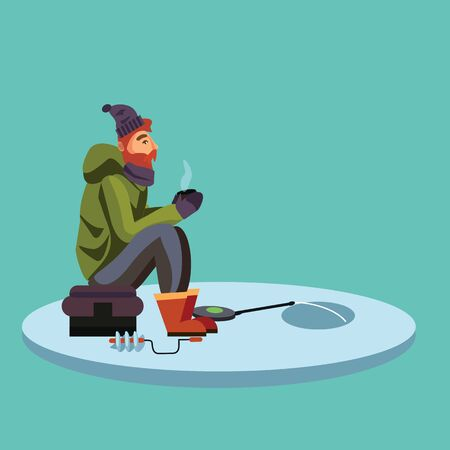Flat fisherman hat sits on bag with spin fishing rod in hand and catches bucket, Fishman crocheted spin into the ice-hole waiting big fish funny vector illustration, Man active banner concept. Illustration
