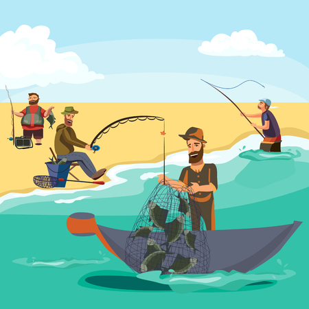 vecor: Cartoon fisherman standing in hat and pulls net on boat out of sea, happy fishman holds fish catch and spin vecor illustration fisher threw fishing rod into water concept, man active hobby character