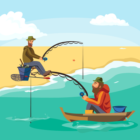trolling: Flat fisherman hat sits on boat with trolling fishing rod in hand and catches bucket, Fishman crocheted spin into the sea waiting big fish funny vector illustration, Man active banner concept.