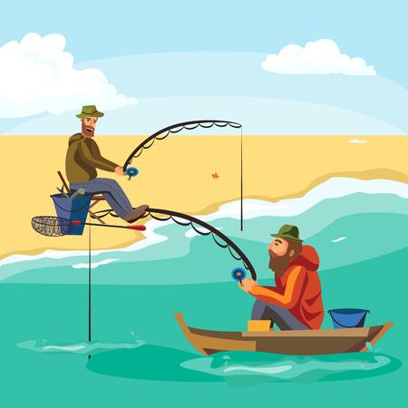 Flat Fisherman Hut sitzt auf Boot mit Trolling Angelrute in der Hand und Fänge Eimer, Fishman gehäkelt Spin in das Meer warten große Fische lustige Vektor-Illustration, Mann aktive Banner-Konzept. Standard-Bild - 75884219