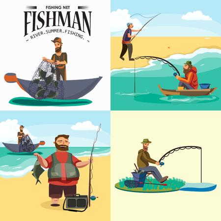 Cartoon visser permanent in hoed en trekt net op boot uit zee, gelukkig fishman houdt vis vangen en spin vecor illustratie visser gooide hengel in water concept, man actieve hobby karakter ontwerp