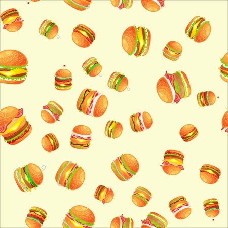 Seamless pattern tasty burger grilled beef and fresh vegetables. Illustration