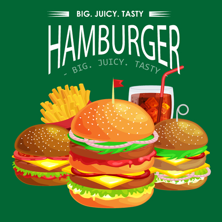 Set of tasty burgers grilled beef and fresh vegetables dressed with sauce bun for snack, american hamburger fast food meal.